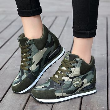High-Top camouflage women tennis shoes  Sizes:  4.5 - 8.5