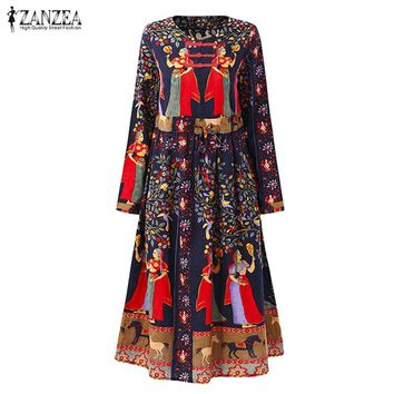 2017 ZANZEA Autumn Women Boho Floral Print Drawstring Midi Dress Casual O Neck Long Sleeve Linen Beach Party Vestido Plus Size