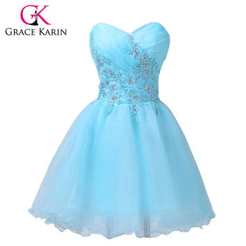 New Arrival Cute Short Prom Dresses Sweetheart Beading Light Blue Party Dress Voile + Satin 6182