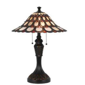 1-Light 24'' Dark Bronze Incandescent Table Lamp With Stained Glass Peacock