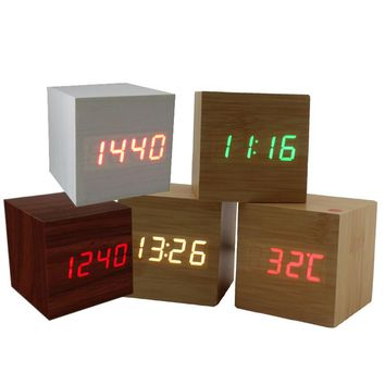 New USB AAA Powered Cube LED Digital Alarm Clock Night light Square Modern Sound Control Wood Clock Display Temperature 10 Color