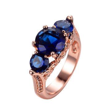 Blue Sapphire Size 6/7/8/9/10 Women Fashion Jewelry 14 KT Rose Gold Filled Zircon Finger Ring anillo High Quality RY0242