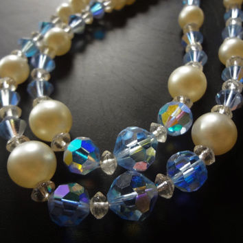 Vintage Double Strand Necklace, Faux pearl and AB Glass Beads