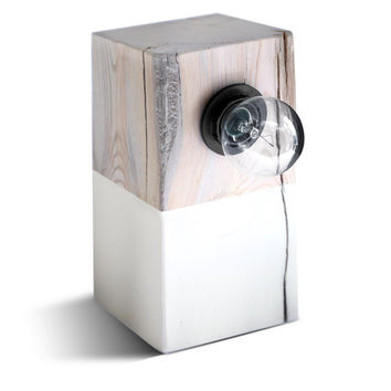 Modern Lamp. Driftwood Table Lamp. Block Lamp. Modern Lighting. Design Lamp. White Wood.