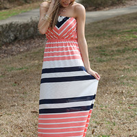 Cape Town Maxi, Coral/Navy