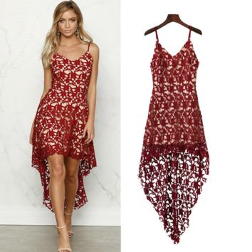 Fashion Sexy Solid Color Female Lace Hollow Hook Flowers Backless Strap V-Neck Irregular Hem Dress