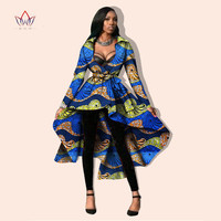 BRW African clothing sexy party Dress bazin fabric women plus size wax print dashiki Asymmetrical ball grown dress outwear WY596