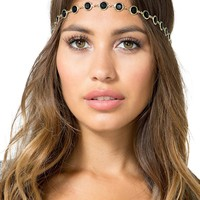 Rhinestone Circle Cab Stretch Headband