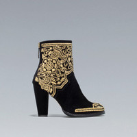 GOLD EMBROIDERED HIGH-HEEL ANKLE BOOT - Shoes - Woman - ZARA United Kingdom