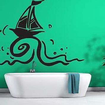 Wall Sticker Vinyl Decal Small Sail Yacht Wind Wave Unique Gift (n190)