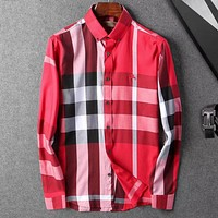 Burberry Men Fashion Casual Long Sleeve Shirt