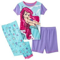 Disney® Princess Girls' 3-Piece Short-Sleeve Ariel Pajama Set