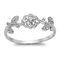 Cubic Zirconia Rose Sterling Silver Ring