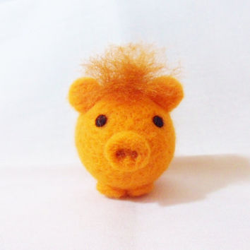 Needle Felted Pig -  miniature orange pig figure - 100% merino wool - Pig With Attitude - wool felt pig