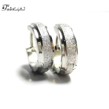 FairLadyHood Silver Color  Hoop Earring Surgical Steel Circle Earring Piercing For Female Girl Men Gift Earings Body Jewelry