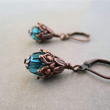 Beaded Dangle Earrings - Indicolite Blue Crystal - Copper - Victorian Style Jewelry - Bohemian Jewelry