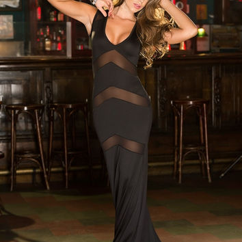 Black Sleeveless Deep V Neck Mesh Accent Bodycon Maxi Dress