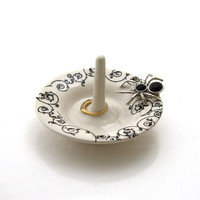 Halloween wedding ring holder ,ceramic ring dish, great gift for bride,spider and lace,creepy crawly spooky goth gift