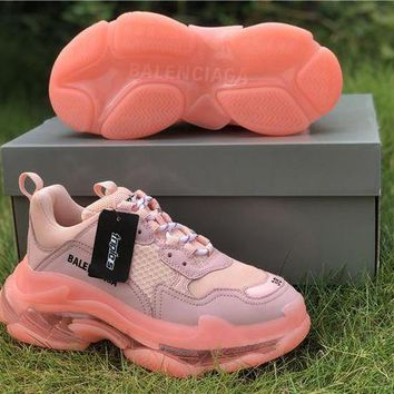 Balenciaga Triple S Clear Sole Light Pink Trainers Oversized Multimaterial Sneakers with air bubble inside the sole DCCK