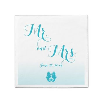 White Blue Mr. and Mrs. Seahorse Wedding Napkins Standard Cocktail Napkin