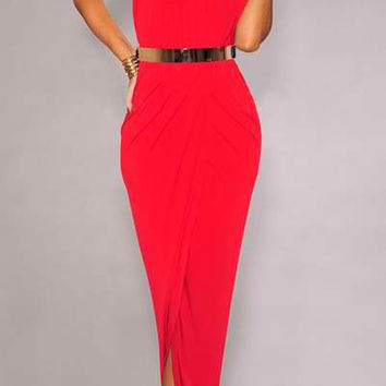 Red Halter Ruched Maxi Dress with Belt