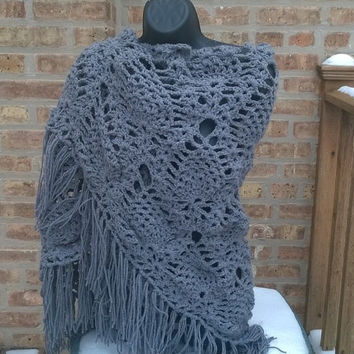 Crochet Shawl - Bridesmaid Shawl - Prom Shawl - The Shawl in Gray - Womens Accessories-Bohemian Fashion