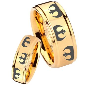 His Her Glossy Step Edges Star Wars Rebel Alliance 14K Gold IP Tungsten Wedding Rings Set