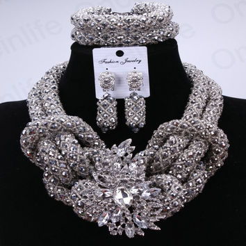 Silver Owl Sexy Fashion Jewelry Set African Beads Nigeria Wedding Jewelry Turkey Necklace And Earrings 2017