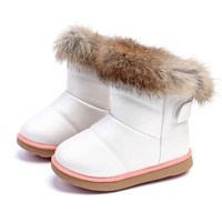 Winter Warm Plush Baby Girls Snow Boots Shoes Pu Leather Flat Baby Toddler Shoes Outdoor Snow Boots Girls Kids shoes