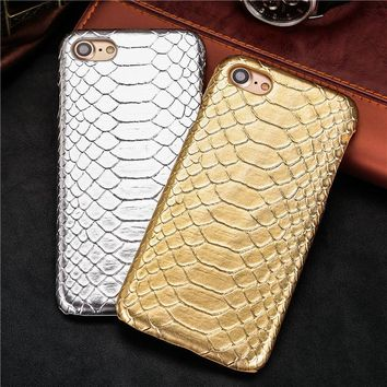 Snake Skin Pattern Back Cover Leather Protect Cell Phone Case For iPhone 5 5S SE 6 6S plus 6Plus 7 7Plus 8 8Plus X case coque