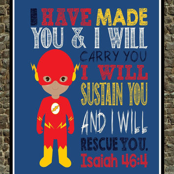 African American Flash Christian Superhero Wall Art - Nursery, Play Room, Kid's Room, Child's Room Decor - Isaiah 46:4 - I Have Made You...