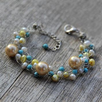 Chunky crocheted wiring pearl turquoise bracelet Bridesmaids gifts Free US Shipping handmade Anni Designs