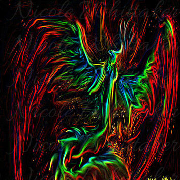 Neon Phoenix Bird fantasy Digital Painting signed art print 6x4 mythical wildlife nature neon