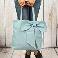 Bows Before Bros Tote in Blue