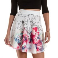 Multi Watercolor Floral Skater Skirt by Charlotte Russe
