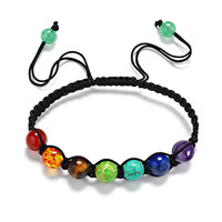 Natural Stone Lava 7 Chakra Bracelet Bracciali women Men Pulseiras mujer Bijoux Jewelry Energy Power Yoga Beaded Charm Buddha