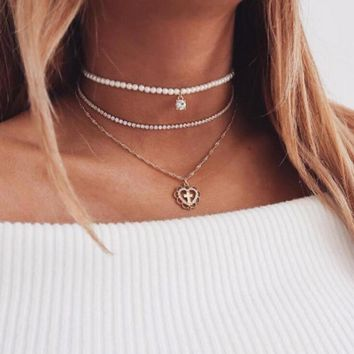 UAM Elegant Simulated Pearl Choker Multilayer Necklace Gold Color Crystal Chain Hollow Cross Heart Chokers Love Necklaces 2018