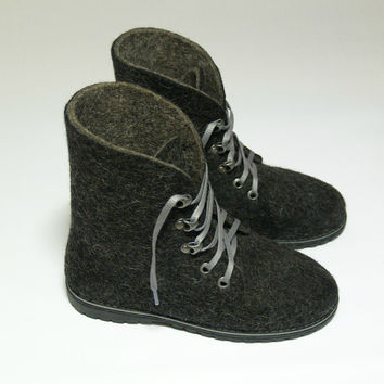 Sale Outdoor felted womens black boots with rubber soles. Organic wool shoes. Size 5