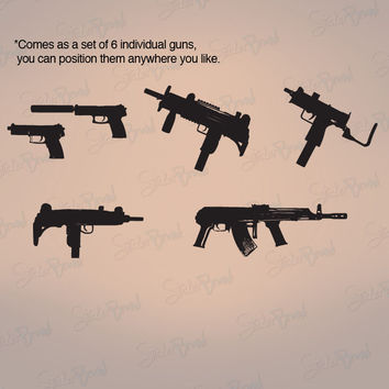 Vinyl Wall Decal Sticker Military Weapon (Set of 6) Guns #440