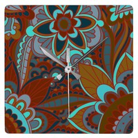 Brown and Turquoise Boho Square Wall Clock