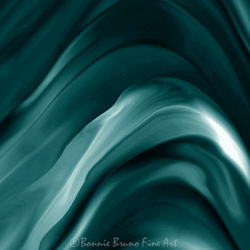 Soft Teal Swirls - digital abstract painting - teal home decor - wall decor