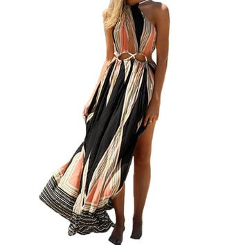 2016 Summer Women Bohemian Sexy Sleeveless Backless Split Long Maxi Dress Casual Printed Strapless Floor Length Dress Vestidos