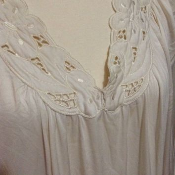 VTG Shadow Line old Hollywood style nightgown gown cream white lace cotton L