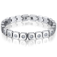 Stainless Steel and Cubic Zirconia Tennis Bracelet