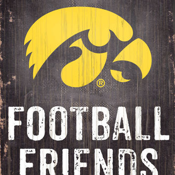 "Iowa Hawkeyes Wood Sign - Football Friends and Family - 6""x12"" - Special Order"