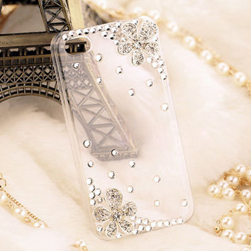"Handmade Bling Crystal little Daisy cell phone case for iPhone 4 4S or Bling iphone 5 5S 5C or iPhone 6 4.7""/plus case cover"
