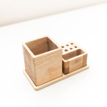 Small desk organizer - 2 pieces table organizer - Wooden desk organization - Pens pencils container - Desk storage - Husband gift