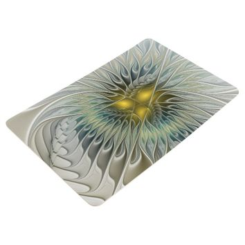 Golden Flower Fantasy, abstract Fractal Art Floor Mat