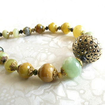 ON SALE.  Agate necklace in mustard yellow, khaki and green with antiqued brass bold statement necklace, limited edition jewelry.