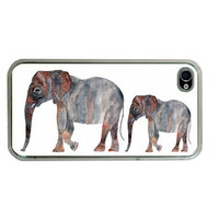 Elephant Apple iphone 4 or 4s Gadget Case  by HeavenlyCreaturesArt